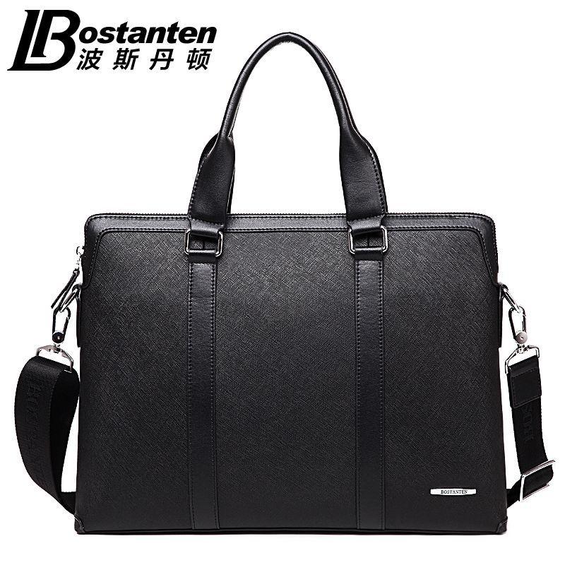 Bostanten New Men's Genuine Cowhide Leather Fashion Handbag Messenger Shoulder BAGS Briefcase Laptop Business Tote BAG Purse