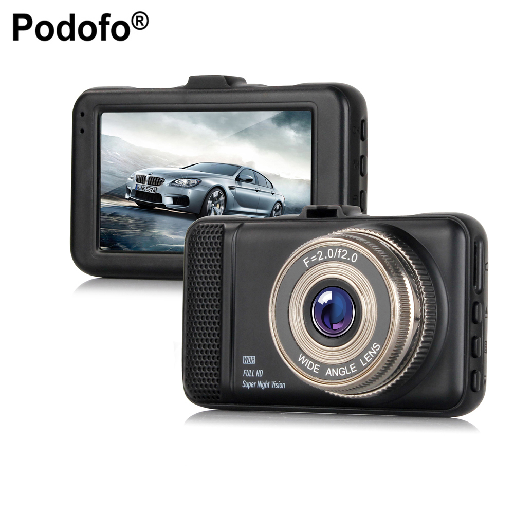 Podofo Car DVR 3 Car Camera DVR Blackbox Dash Cam Night Vision DashCam cycle recording registrar Video Recorder Camcorder DVRs