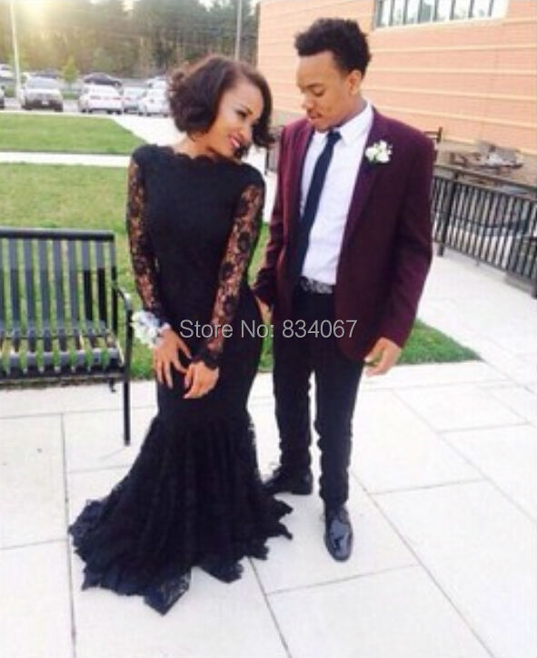 Aliexpress.com : Buy Black Lace High Neck Prom Dress Long Sleeves ...