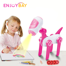 Enjoybay Kids Multifunctional Drawing Projector Toy Learning Painting Toy w/ Projection Light Early Educational Toy for Children