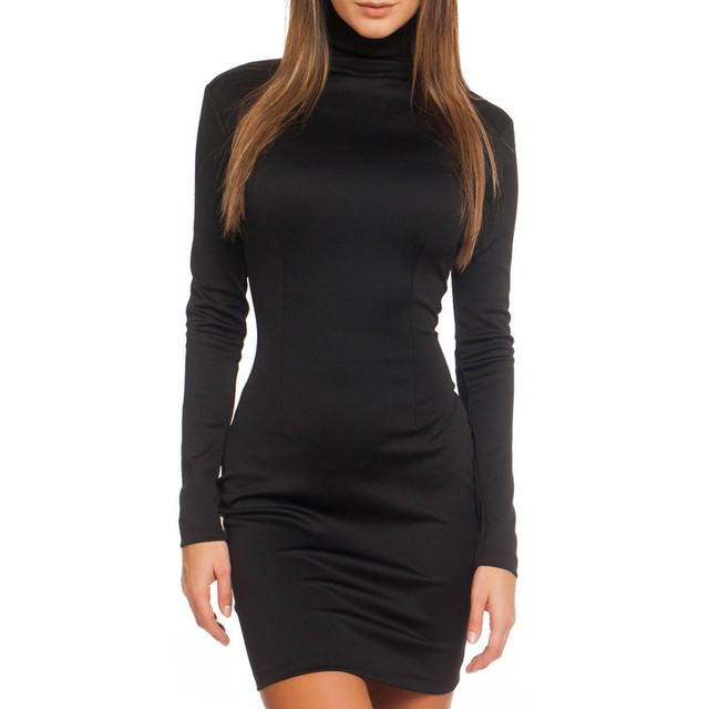 Women Clothes 2018 Autumn Long Sleeve Bodycon Casual Dress Fall Winter  Slimming Solid Color Elegant Temperament Quality Dresses b35f5d8a7