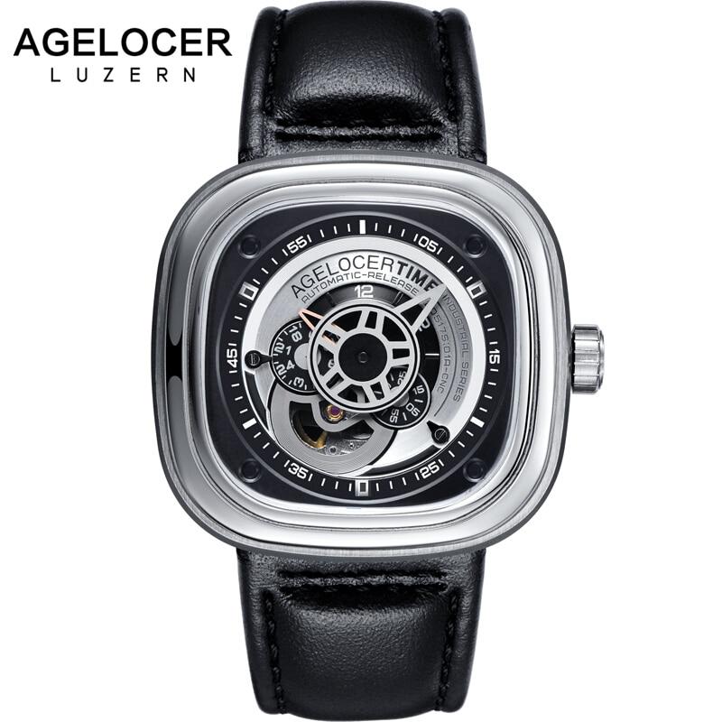 Agelocer Brand Relogio Masculino Automatic Watch 100% Cowhide Watchband Sport Wrist Watch Men Stainless Steel Waterproof 50M