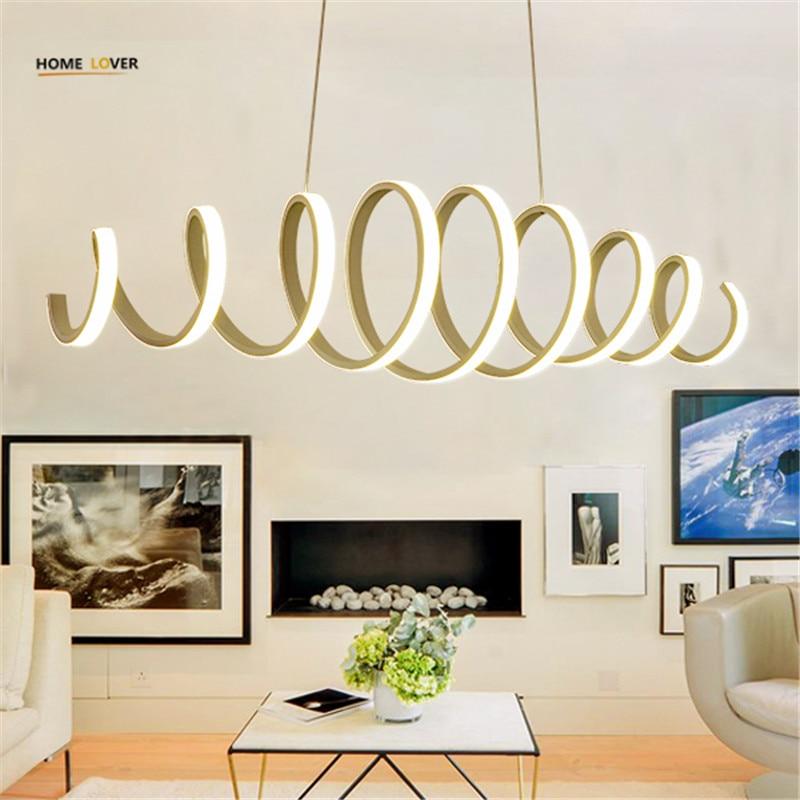 Современные светодиодные подвесные светильники для столовой Кухня Обеденная бар Алюминий белый Цвет Светодиодная лампа светильник люстры