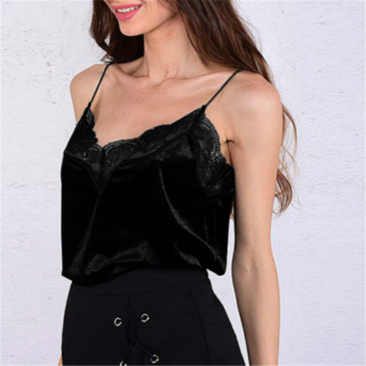 Fashion Womens Blouse V-Neck Vest Sleeveless Lace Velvet Shirt Blouse Casual Off Shoulder Tops New Hot Fashion