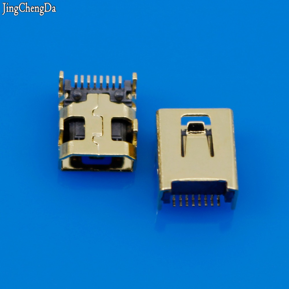 Jing Cheng Da Golden Mini USB 8 Pin SMT SMD PCB Socket Connector for LG 8pin Mini USB Type B 8-Pin Female Socket 50pcs genuine for starconn pcie connector x16 socket 164pin with 2 rows smd type