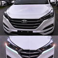 FIT FOR 2015 2016 HYUNDAI TUCSON CHROME FRONT HEAD LIGHT LAMP EYEBROW TRIM COVER BEZEL STYLING DECORATION GARNISH MOULDING