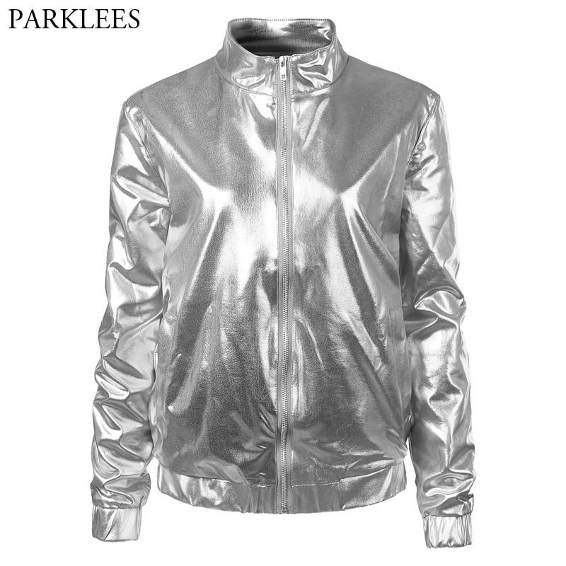 e847c0adf US $22.69 50% OFF Silver Metallic Coated Bomber Jacket Women Shiny Night  Club Baseball Varsity Jacket Womens Zipper Front Mandarin Collar Jackets-in  ...