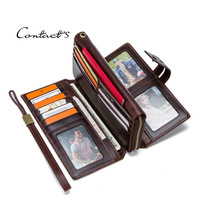 CONTACT'S crazy horse genuine leather small card wallets for men RFID ID card holder mini walet thin case male purse cardholder