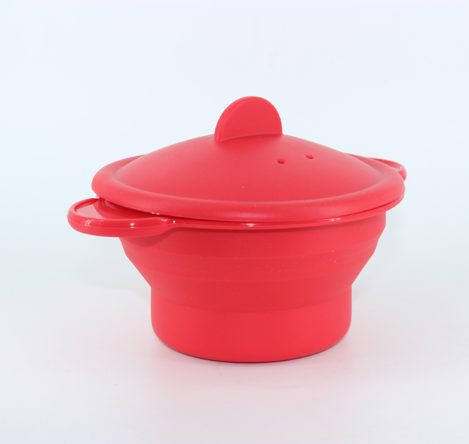 Kitchenware Red Silicone Foldable Retractable Steam Pot With Cover Double Handle Practical Cooking Steamer