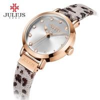 Julius Women Watch Leopard Print Leather Bracelet Quartz Whatch Waterproof Watches Clock Female Dress Relogio Feminino