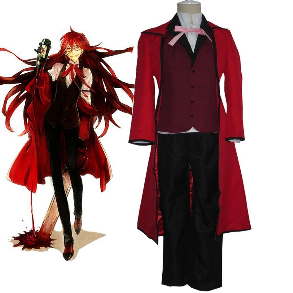High-Q Unisex Japan Anime Black Butler Cos Grell Sutcliff Cosplay Costumes Suit Sets Red Butler Costumes
