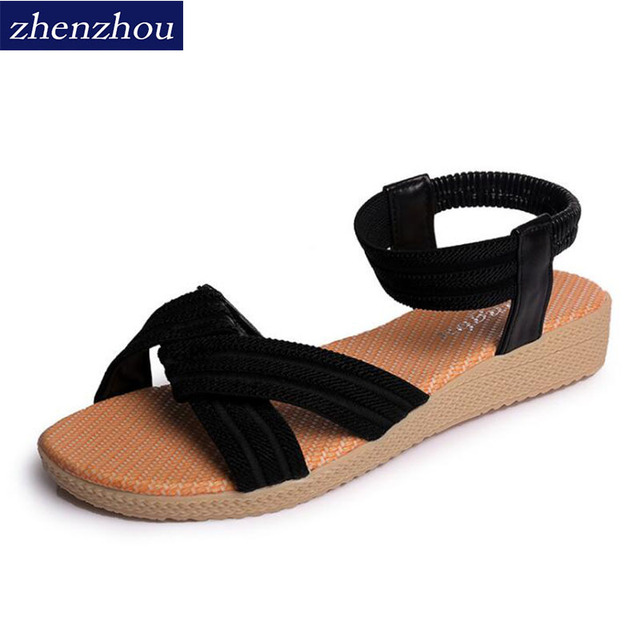 Free shipping Sandal women summer new 2018 Women shoes simple flat fish-mouth sandals with pure colored elastic sandals Big size