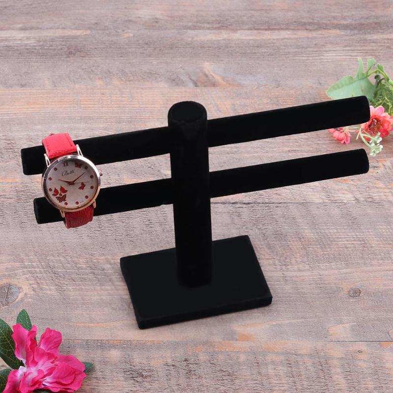 Earring/Watch/Pendant/Necklace Double Layer Velvet Display Stand Black/grey T-Bar Shaped Jewelry Accessory show Holder Organizer genboli t bar bracelet display jewelry stand necklace decorations wrist watch holder stand black jewelry organizer