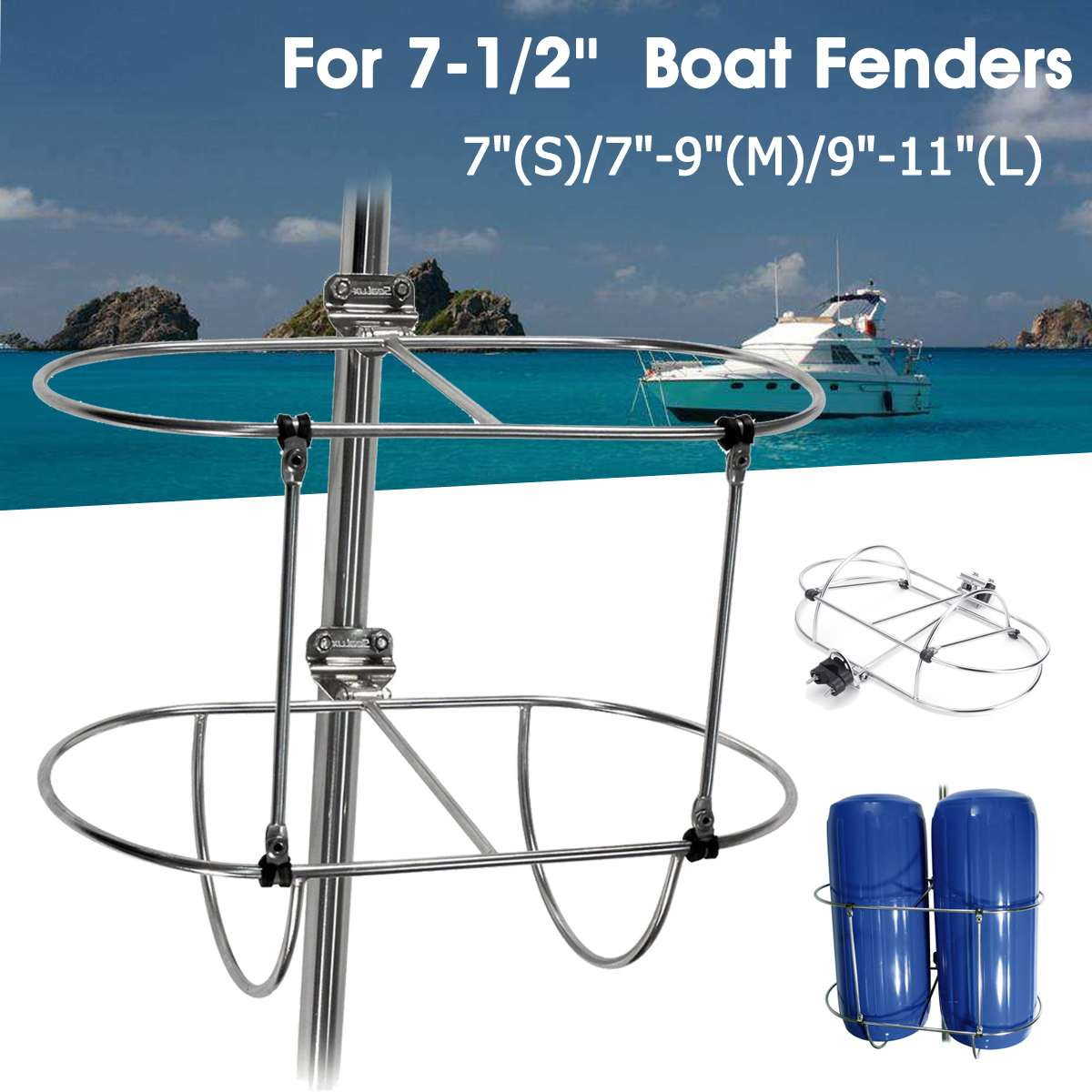 "Audew 7""(S)/7""-9""(M)/9""-11""(L) Stainless Steel Silver Folding Double Fender Holder Rack Boat Parts For 7-1/2'' Boat Fenders"