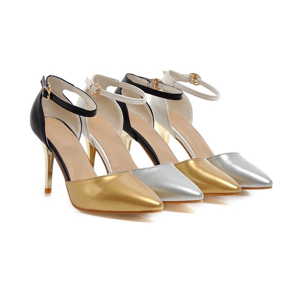 Sexy Couleurs silver Pointu Hauts Pompes 2015 Femmes Haute Qualité 2 Taille 33 D'été Talons D'automne Mélangées Grande Gold 43 Printemps Bout De Et Party F1TclJK
