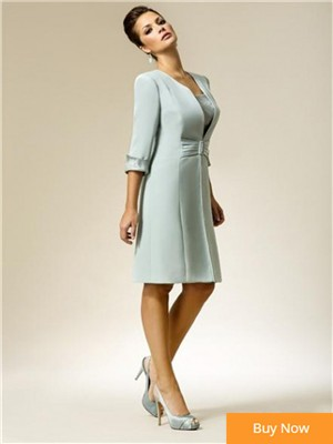 vestido-noivas-2016-de-renda-Mint-Knee-Length-mother-of-the-bride-dresses-With-Jacket-vestido