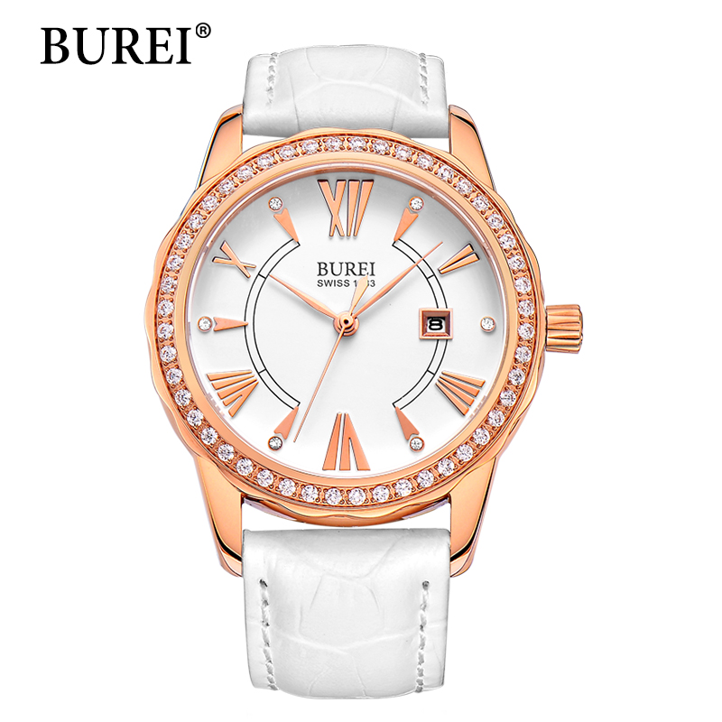 BUREI Women Watch New Top Brand Fashion White Calfskin Band Date Display Female Clock Waterproof Quartz Wristwatches Hot Sale mige 2017 new hot sale top brand lover watch simple white dial steel case man watches waterproof quartz mans wristwatches
