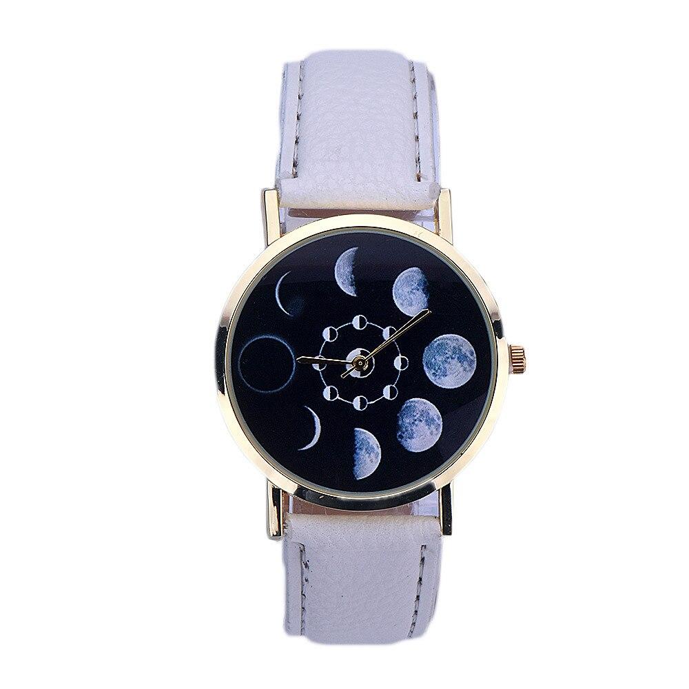Women watches Lunar Eclipse Pattern Leather Analog Quartz Wrist watch women men watch bayan kol saati relogio 2018New arrival 3#