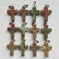 wholesale Hot Sale Natural unakite stone charms Cross Pendants for jewelry making 12Ps/lot Free shipping