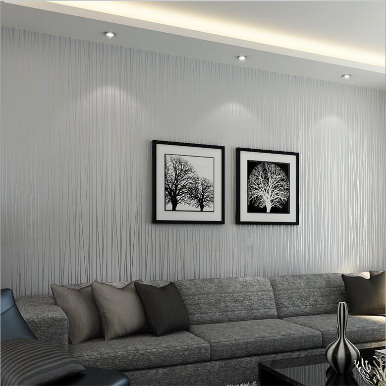 Decorating With Stripes For A Stylish Room: Modern Silver Gray Striped Wallpaper For Wall Flocked