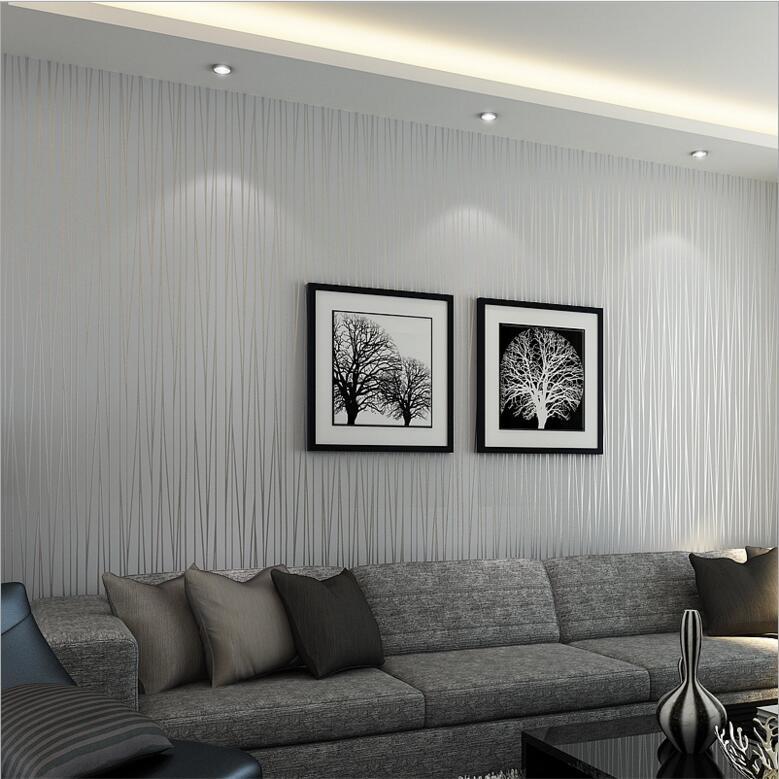 Papel pintado a rayas gris plateado moderno para la pared - Papel pared rayas verticales ...