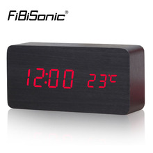 FiBiSonic Wooden Digital LED red series Alarm Clock  Sound Control Temperature Electronic Desk Table desktop  Clock