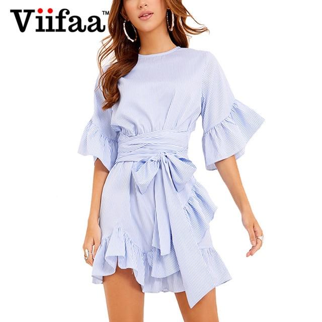 b103b260367ea1 Viifaa Half Sleeve Ruffle Summer Dress Women Casual Striped Dress Female  Vestidos Belted Blue Short Dress