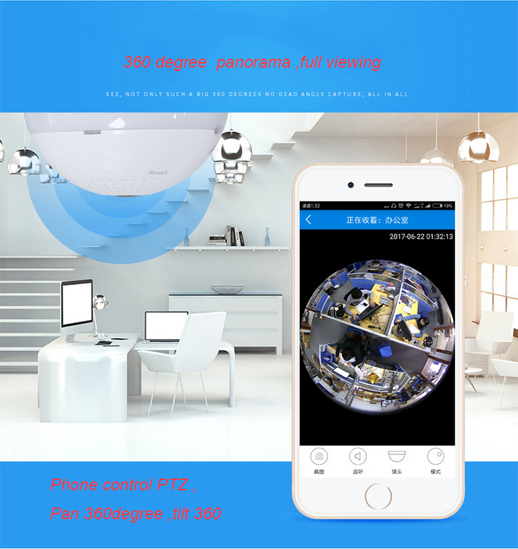New Mini Lamp WIFI Camera 960P HD Bulb Light Wireless IP Camera 360 Degree Panoramic FishEye Lens Support 128GB TF Card