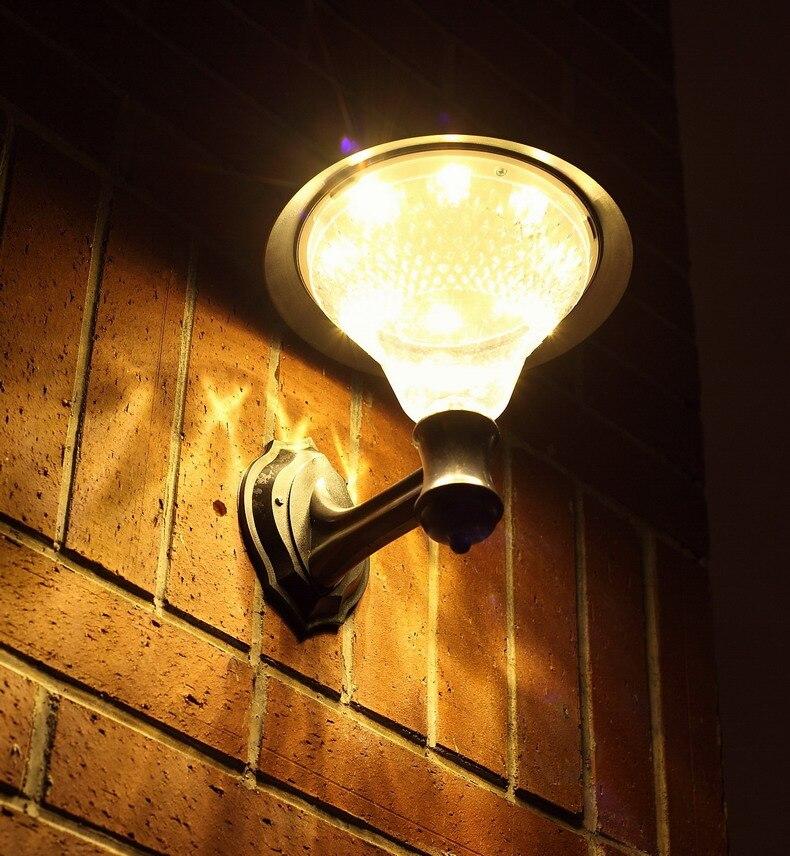 transctego solar jardim 32 leds luz led sensor lampada de parede solar luzes de rua energia