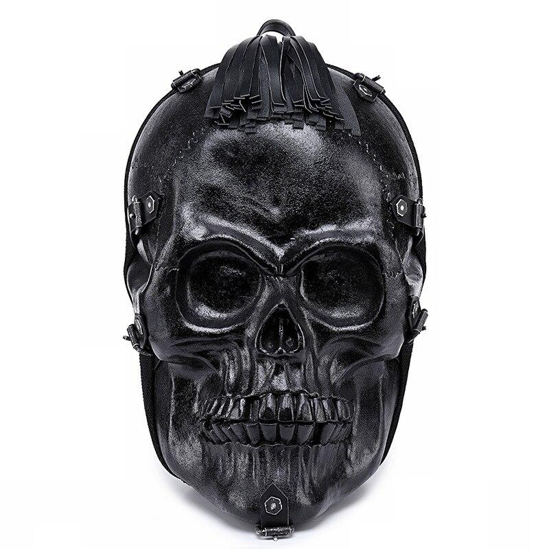 Men Backpack 3D Fright Skull Emboss Shoulder Bag Travel Backpack Restore Halloween Cool Leather tassels Bags