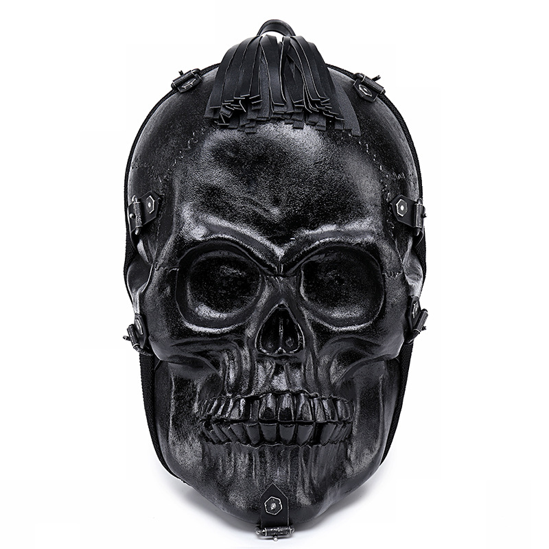 Men Backpack 3d Fright Skull Emboss Shoulder Bag Travel Backpack Restore Halloween Cool Leather Tassels Bags