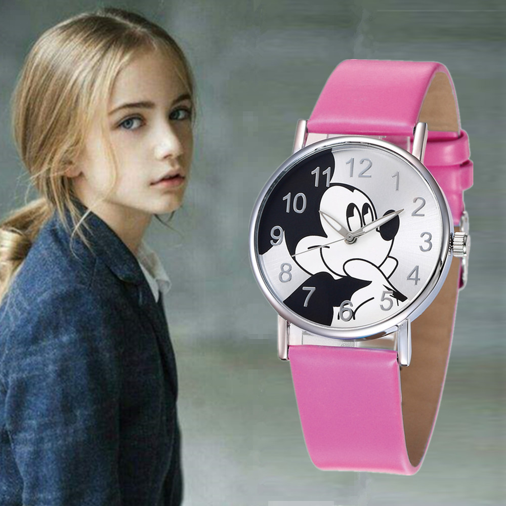 Hot Cute Pink Cartoon Mouse Children Watches Casual Leather Students Dress Saats For Girls Cool Blue Boy Rejores Bayan Saats
