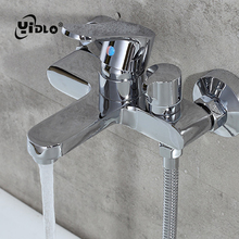 Bathroom Wall Mounted Brass Faucet Silver Shower Faucets Cold And Hot Mixing Water Tap Polished Dual Handle Control B21
