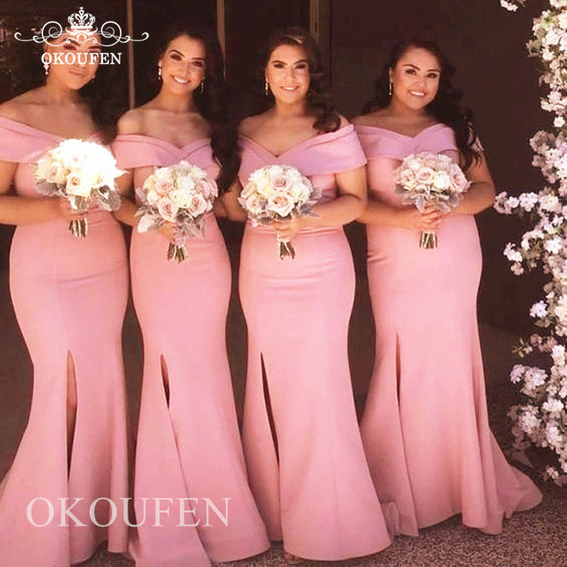 Fashionable Off Shoulder Mermaid Bridesmaid Dresses For Women 2019 Wholesale Pink Elastic Satin Long Party Dress Formal Gown