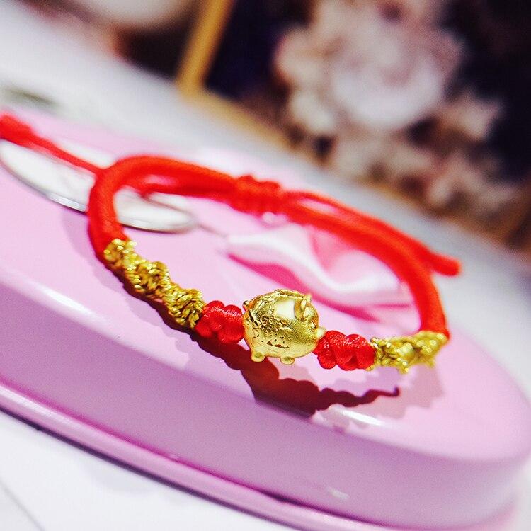 Pure 24 k 999 Geel 3D Gold Jaar van het Varken Armband Geluk Varken Zodiac Weven Touw Voor Vrouwen Baby vrouwelijke Armband 16cmL 0.2 0.3g-in Armbanden & Armring van Sieraden & accessoires op  Groep 1