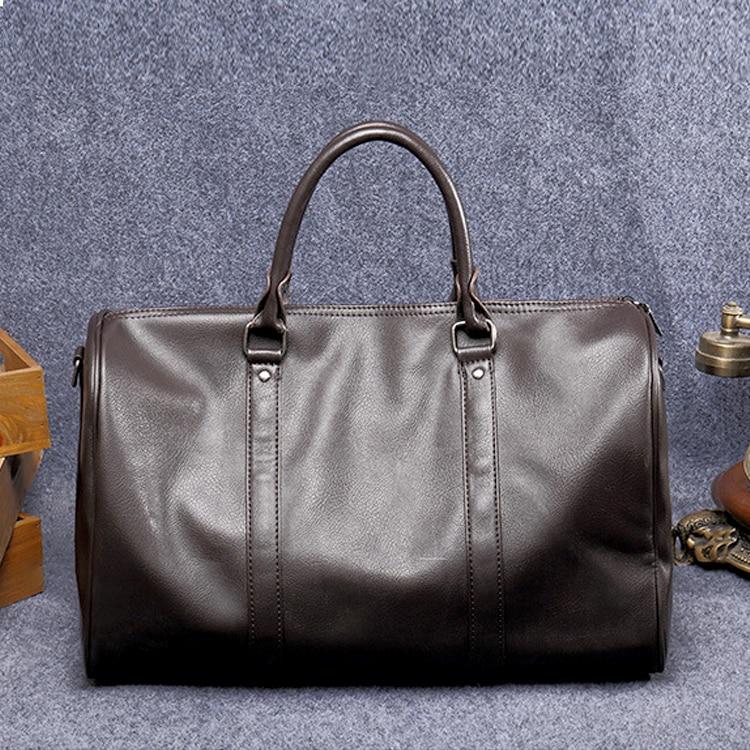 Wobag High Quality PU Leather Men Travel Duffle Bag Round Bucket Luggage Handle Bag Men's Shoulder Crossbody Bag sac de voyage все цены