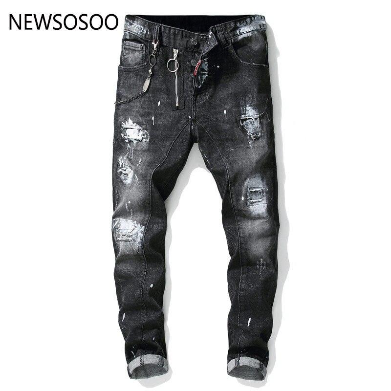 European American Style famous brand mens   jeans   luxury Men straight denim trousers zipper Patchwork Slim black   jeans   for men