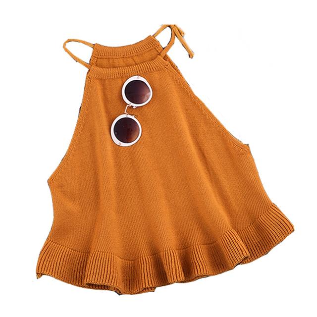 Novo 2016 Moda Casual Sexy Primavera Verão Outono das Mulheres Curto Cropped Malha Ruffles Regatas Senhoras Malha Camisola WY570