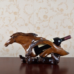 American Style Creative Fake Carved Wood Horse Sculptures abstract sculptures wine rack decorative resin crafts home guarding