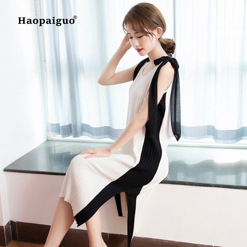 Summer Knitting Casual Dress Women O neck Sleeveless Straight Elegant Dress Women Solid Ladies Work Dresses