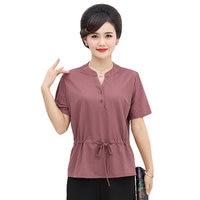 Women Summer Blouses Green Purple Orange Cotton Tops Woman Short Sleeve Lacing Up Waist Blouse Shirt Comfort Tunic 4XL 3XL 2XL