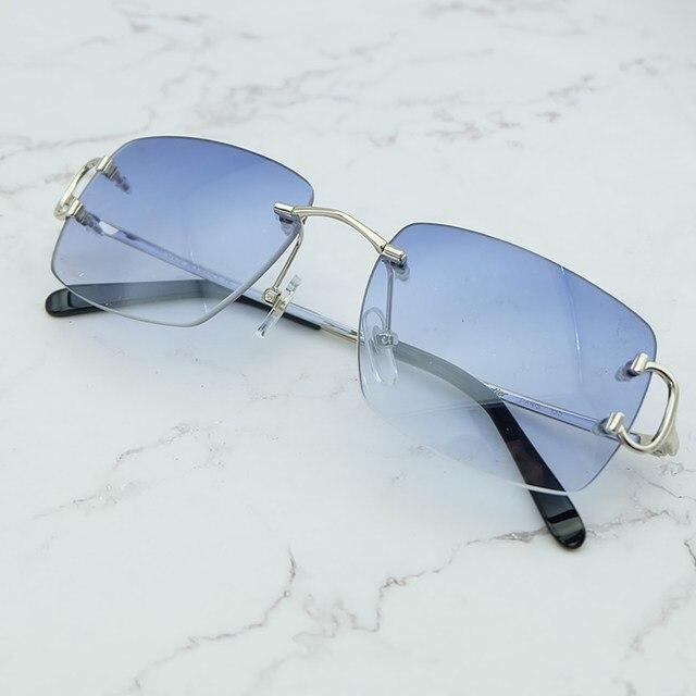 fc69fb4df8d3 Oversized Rimless Sunglasses Vintage Sun Glass Men Designer Brand Luxury Women  Sunglass Big Square Sunglasses Carter Shades