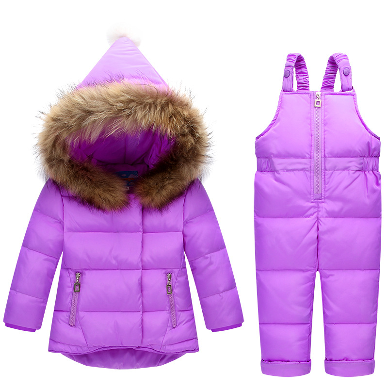 Russia Winter Children Clothing Sets Jumpsuit Snow Jackets+bib Pant 2pcs Set Baby Boy Girls Duck Down Coats Jacket With Fur Hoo