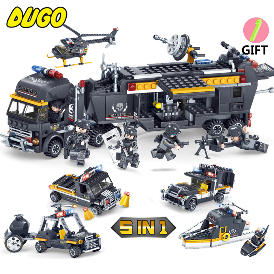 SWAT Police Command Vehicle Truck Model Building Block Bricks Toys Compatible Legos City Police Toys For Children Gift Boy Toys 2017 enlighten city series garbage truck car building block sets bricks toys gift for children compatible with lepin
