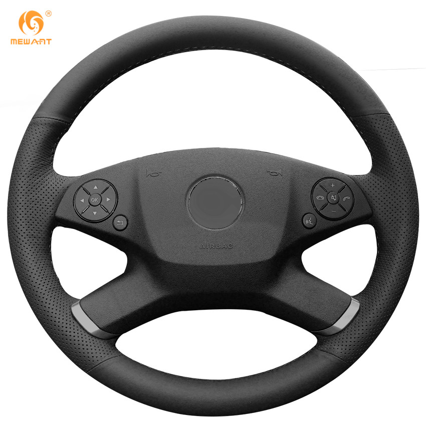 MEWANT Black Genuine Leather Car Steering Wheel Cover for Mercedes Benz E-Class W212 E 200 260 300 2009-2013 new power steering pump for mercedes benz w163 ml320 ml350 ml430 ml500 ml55