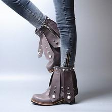 Women Autumn Winter Genuine Leather Shoes Retro Hoof Heel Rhinestones Round Toe  Mid Calf Lady Chelsea Boots Plus Size 41 42