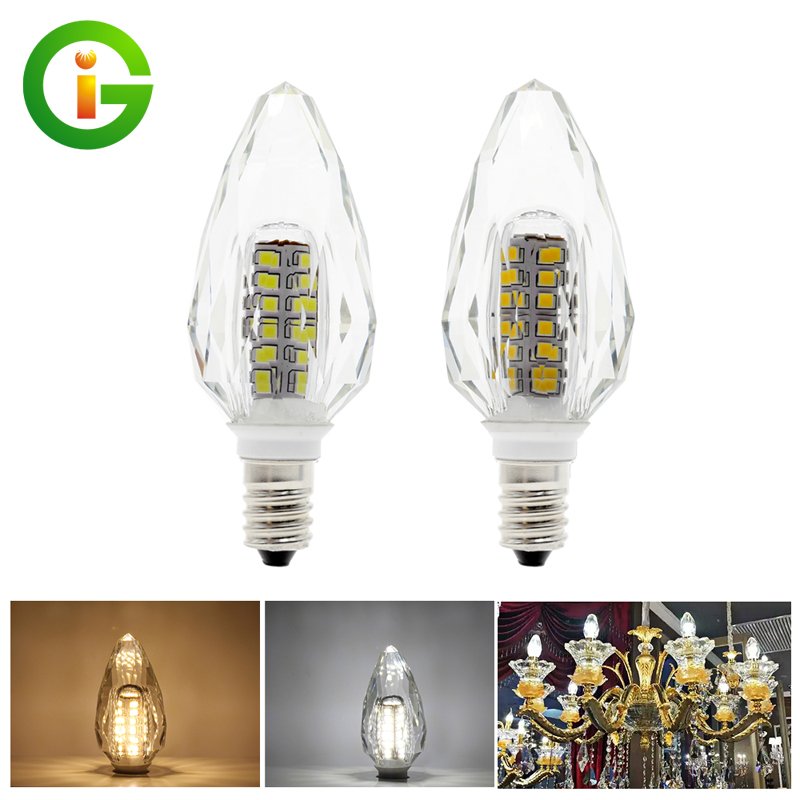 K5 Crystal E14 LED Bulb Light Candle Lamp AC220V 4W White / Warm White Chandelier Pendant Lamp 5pcs g9 4w 320lm led candle bulb for chandelier