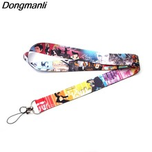 P3336 Dongmanli Cat Keychain Lanyards Id Badge Holder ID Card Pass Gym Mobile Phone USB Badge Holder Key Strap(China)