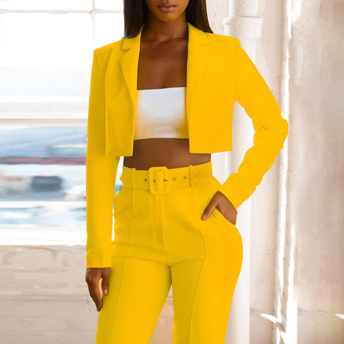 2019 Fashion Neon Yellow Women Blazer Formal OL Blazer Feminino Sexy Slim Short Girl Coat Solid Autumn Notched Women Blazer