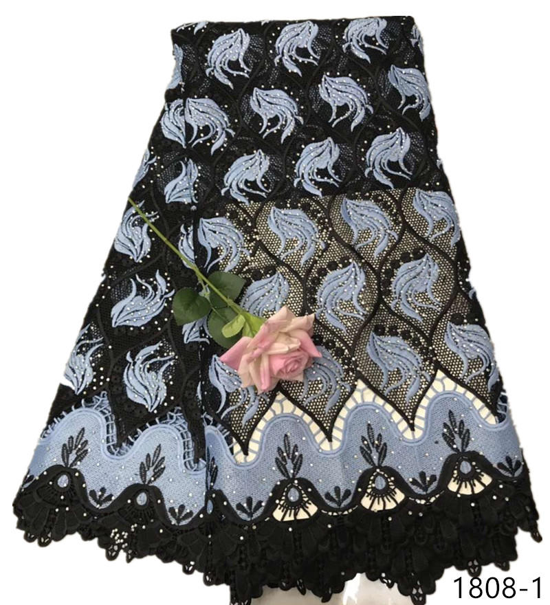 African Lace Fabric With Rhinestones High Quality guipure lace fabric hot selling Nigerian cord lace fabrics for dress 1808African Lace Fabric With Rhinestones High Quality guipure lace fabric hot selling Nigerian cord lace fabrics for dress 1808
